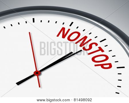 An illustration of a clock with the word nonstop