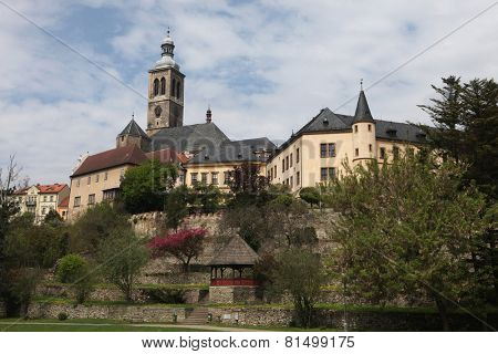 Saint James Church and Italian Court in Kutna Hora, Czech Republic.