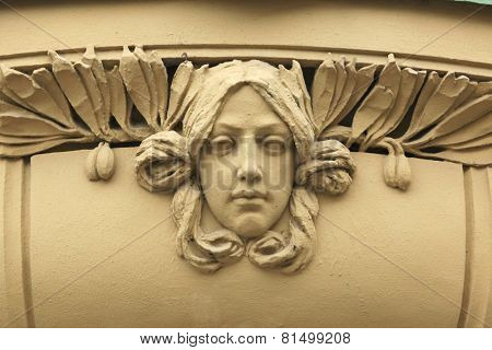 Art Nouveau mascaron in Hradec Kralove, East Bohemia, Czech Republic.
