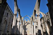 foto of carmelite  - famous Carmo Church ruins after the earthquake in 1755 in Lisbon Portugal - JPG