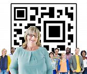 foto of qr codes  - QR Code Identity Marketing Data Encryption Concept - JPG
