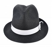 picture of fedora  - Fedora like black hat with a white tape isolated over white background - JPG