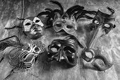 picture of carnival rio  - Group carnival masks from different cities such as Venice Naples or Rio de janeiro - JPG