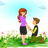 foto of propose  - easy to edit vector illustration of couple in proposing pose for Happy Valentine - JPG