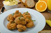 foto of tatar  - Breaded mushrooms fried with fresh orange juice and homemade tartar sauce - JPG