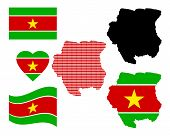 stock photo of suriname  - Map Suriname different types and symbols on a white background - JPG