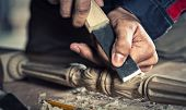 stock photo of carpenter  - Close up carpenter - JPG