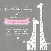 pic of baby animal  - Baby girl invitation for baby shower vector format - JPG