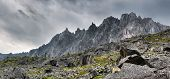 picture of siberia  - Toothed ridge mountains in cloudy weather in Eastern Siberia - JPG