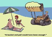 stock photo of tractor  - Cartoon of family at the beach and son is driving a real tractor playing in the sand - JPG
