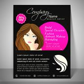pic of beauty parlour  - Stylish flyer for beauty parlour with image of young girl face - JPG