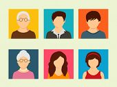 pic of grandmother  - Colorful set of family characters with grandfather - JPG