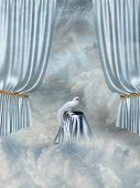 image of fantasy landscape  - Fantasy Landscape in the sky with curtain and dove - JPG