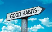 stock photo of  habits  - Good Habits sign with sky background - JPG
