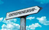 stock photo of entrepreneurship  - Entrepreneurship sign with sky background - JPG