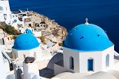 picture of cupola  - Church Cupolas and the Tower Bell from Santorini Greece - JPG