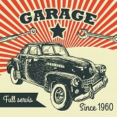 foto of muscle-car  - Retro car service sign - JPG