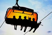 image of ropeway  - Orange ropeway in High Tatras mountains - JPG