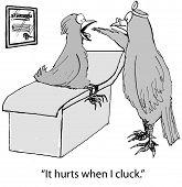 stock photo of hurted  - Cartoon of bird doctor examining throat of bird patient - JPG