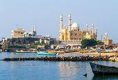 picture of arabian  - fishing harbour with mosque in the background (Arabian Sea Kerala India) ** Note: Visible grain at 100%, best at smaller sizes - JPG