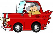 picture of fin  - This illustration depicts a cowboy driving a tiny car with fins and bull horns on the grille - JPG