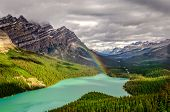 picture of rocky-mountains  - Scenic mountain view of Peyto lake valley Canadian Rockies Alberta Canada - JPG