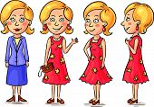 pic of angle  - Young woman cartoon character at different angles - JPG