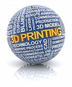 stock photo of 3d  - 3d printing related words on a sphere - JPG