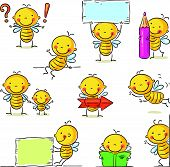 stock photo of cartoon character  - A little bee cartoon character in different poses with signs and objects - JPG