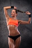 picture of body shapes  - attractive fitness woman trained female body lifestyle portrait caucasian model - JPG