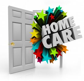 image of social housing  - Home Care words in an open door to illustrate house calls made by nurses - JPG