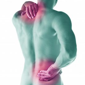 picture of cubit  - Studio shot of sportsman with pain in neck - JPG