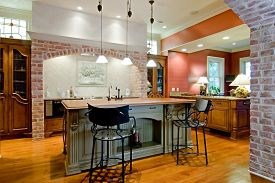 stock photo of stool  - expensive tuscan style kitchen remodel - JPG