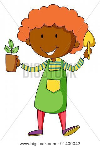 Closeup happy gardener holding potted plant and shovel