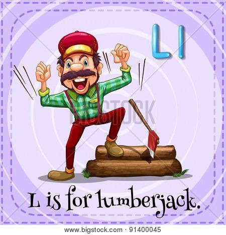 Flashcard letter L is for lumberjack