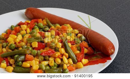 Fried Mixed Vegetables And Sausage