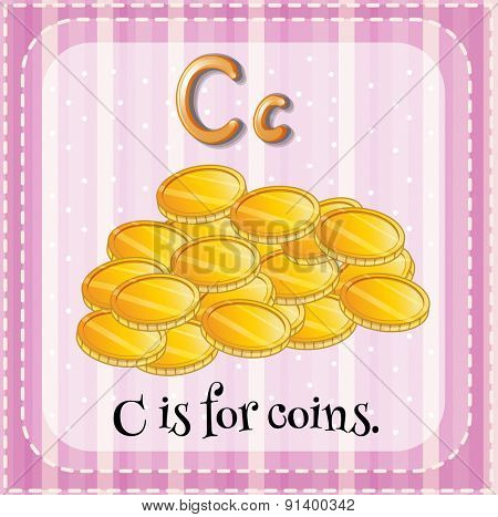 Flashcard letter C is for coins