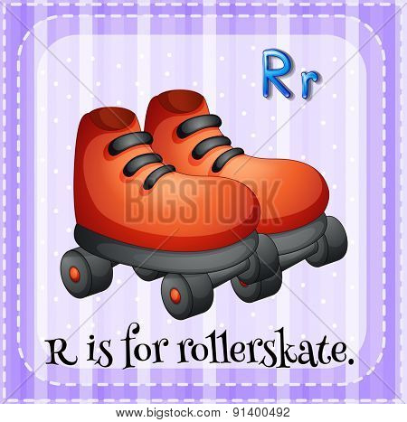 Flashcard letter R is for rollerskate