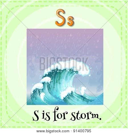 Flashcard letter S is for storm