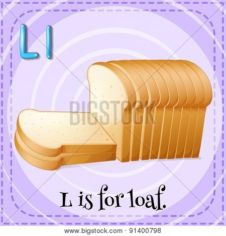 Flashcard letter L is for loaf