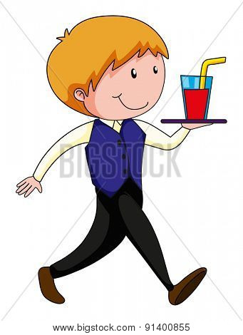 Happy waiter carrying a tray of drink