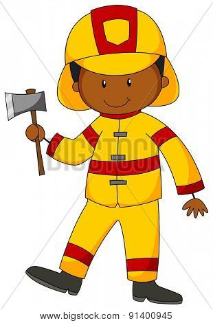 Closeup happy fireman in yellow uniform holding an axe