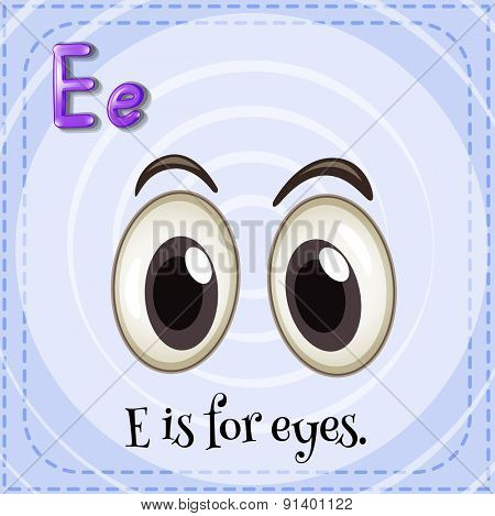 Flashcard letter E is for eyes