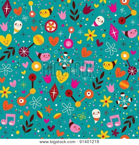 nature love harmony fun characters seamless pattern