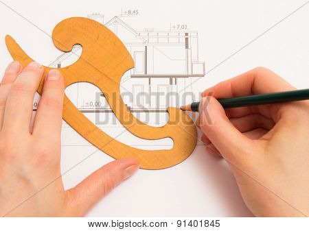 Woman Performs Technical Drawing