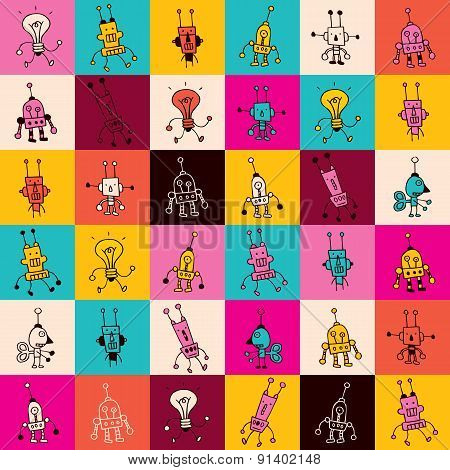 cartoon robot characters pattern
