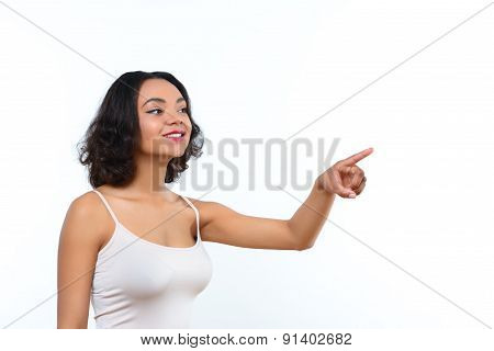 Mulatto lady pointing sideward with her finger