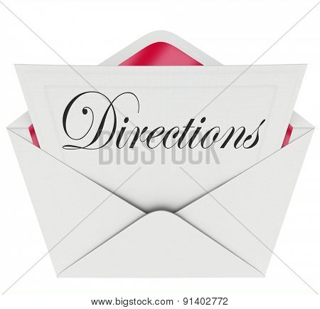 Directions word on a note or message inside envelope telling you where the location is for a party, event or venue