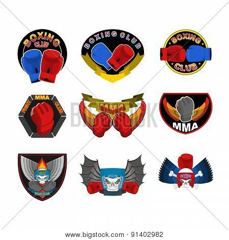 Set of boxing emblems, logos and stripes. MMA, fight club logo