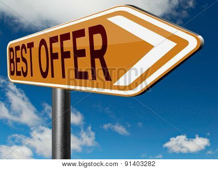 best offer lowest price deal for value web shop or online promotion road sign